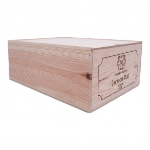 Wooden Wine Box With Vineyard Logo 6 Bottles